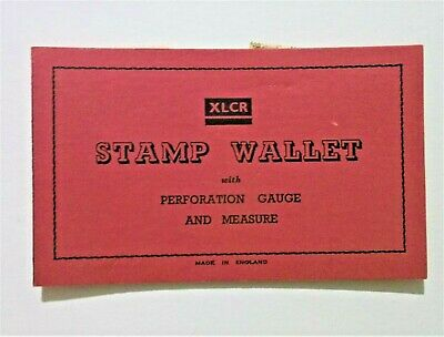 XLCR Stamp wallet with perforation guage. 1960s. few stamps.