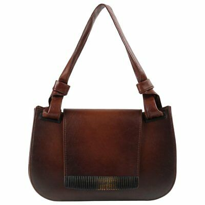 2ac1d63baba484 GUCCI BROWN LEATHER Carved Bamboo Wood Flap Top Shoulder Bag Purse ...