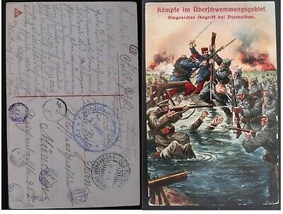 """RARE 1915 Germany Postcard """"Victory near Dixmulden""""with 3rd Company Augsburg cd"""