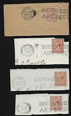 GB 1912-24 KGV 1½d STAMP PC X4 POSTED IN 1926 W/ 'BRITISH GOODS ARE BEST'