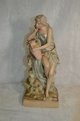 Antique Royal Dux Bohemia Woman with Pitcher Figurine 427 12 1/2 Inches Tall