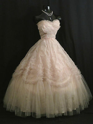 SALE Vintage 1950's 50s Strapless PINK Chiffon Tulle Party Prom Wedding Dress
