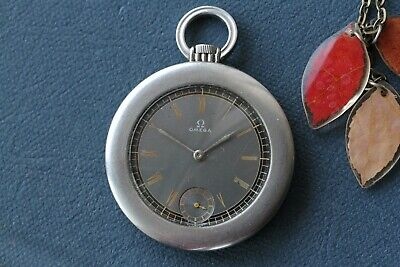 Omega Art Deco Pocket Watch, Gilt Dial, Two-Tone Black Dial, Stainless Steel