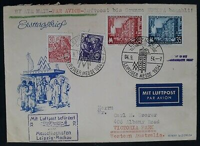 RARE 1954 Germany (DDR) Airmail FDC ties 4 stamps with Leipzig Autumn Fair cache