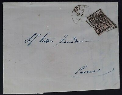 RARE 1857 Italy (Papal States) Folded Letter ties 5Baj stamp canc Bologna -Parma