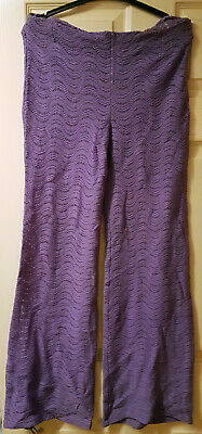 Vintage Purple Flared Crochet Zip-Sided Trousers. 1960's / 70's. UK Size 10-12.