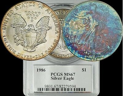 1986 American Silver Eagle PCGS MS67 Dark Blue/Green/Maroon Toned Coin ASE