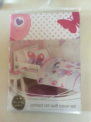 Tiny little wonders butterfly baby cot quilt cover set brand new