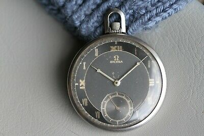Vintage Omega Pocket Watch, Art Deco, Gilt Dial, Two-Tone Track, Stunning