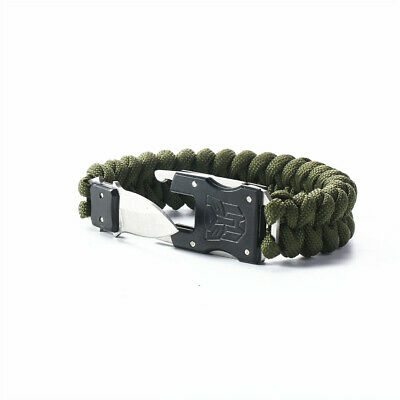 Paracord Survival Bracelet Outdoor Sports Packet Knife Camping Rope Tool Kit