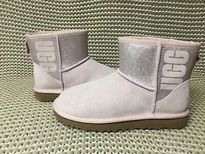 004925033728d UGG Classic Mini UGG Sparkle Logo Graphic Seashell Pink Suede Boots Size 7  Women