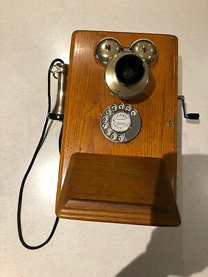 Antique timber wall phone