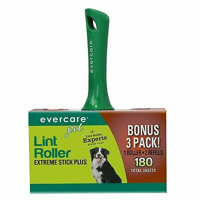 Evercare Pet Hair Extra Sticky Lint Roller with 2 Refills 180 Total Sheets