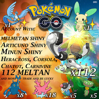 Pokemon Go account 3 Shiny, Melmetan Shiny, 112 Meltan, Chatot, Corsola & more..