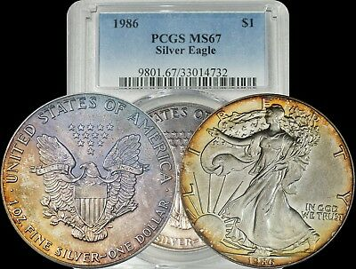 1986 American Silver Eagle PCGS MS67 Yellow/Orange Toned Coin ASE