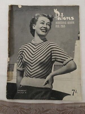Patons Knitting Pattern Book No 263 ~ Ladies Jumpers, Tops, Cardigans, Twin Set