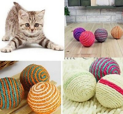 Pet Dog Cat Kitten Teaser Playing Chew Rattling Sound Toys Rope Ball 1PC!