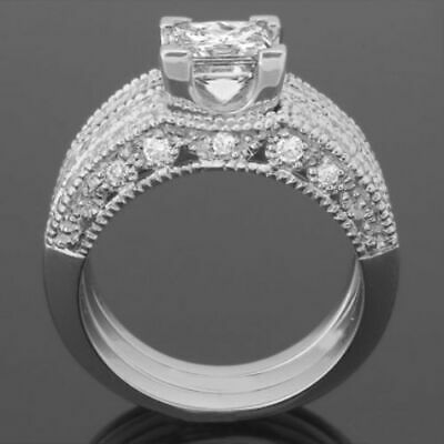 Womens Diamond Band Ring 1.9 Ct Vintage Style 4 Prongs Vs1 14 Kt White Gold
