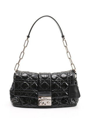 4ced7e980569 Christian Dior New-lock Cannage chain shoulder bag patent leather black