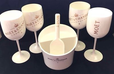 Moet Chandon Ice Imperial Ice Fruit Holder W/ Scoop + 4 Flutes New!