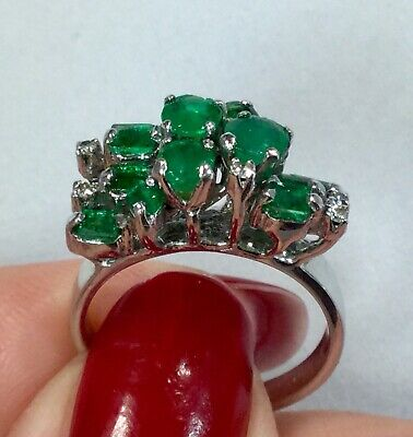 Vintage Estate Emerald and Diamond Cluster Statement Ring 14k White Gold