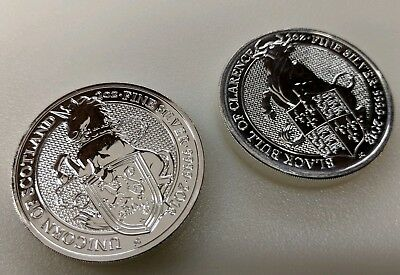 2018 Great Britain Silver Queen's Beasts - Unicorn and Black Bull £5 - 2 oz
