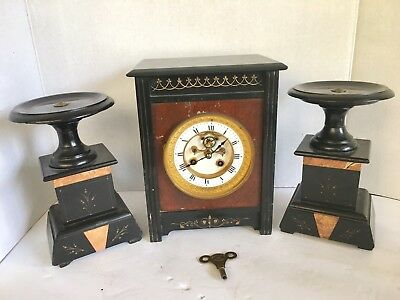Antique French Three-Piece Slate And Rouge Marble Clock Garniture Set