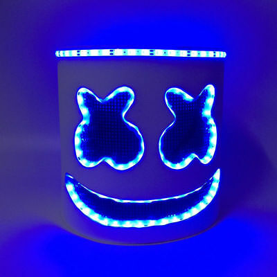 Multicolor LED MarshMello Helmet DJ Full Head hoodie Costume Cosplay Latex Mask