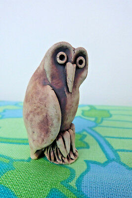 Vintage Hand Made Pottery Clay Owl Figurine