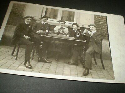 social history 1910's young men plaing cards drinking beer photo postcard