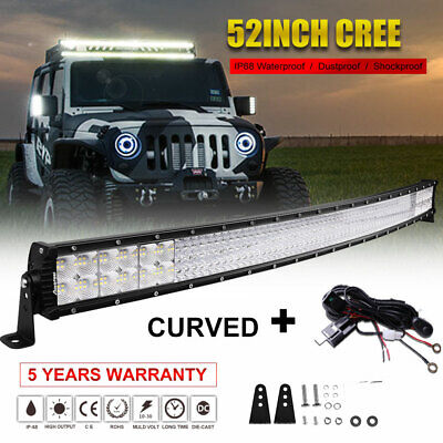 Curved 52inch 6272W Cree Led Spot Flood Combo Quad Row Driving Light Bar 50''