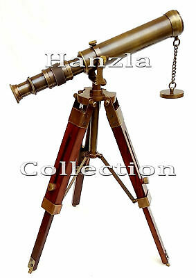 Brass Telescope With Wooden Tripod Navy Spyglass Handmade Vintage Decorative