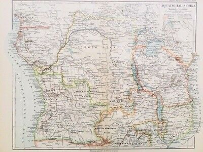 1895 Colonial Central AFRICA MAP in German Language - Topographic, Color Colony