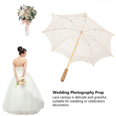 Vintage Handmade Cotton Parasol Lace Umbrella Wedding Party Bridal Decor