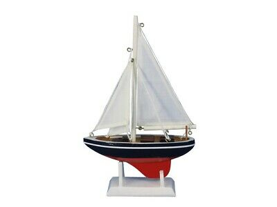 "Wooden Endeavour Model Sailboat Decoration 9"" Nautical Decor Handcrafted Display"