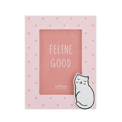 Cutie Cat Pink Hearts Standing Photo Frame Picture Bedroom Children Girly