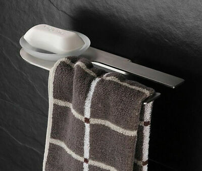 Wall Mount Brushed Nickel SUS304 Soap Dish Holder Shower Soap Dish w/ Towel Bar