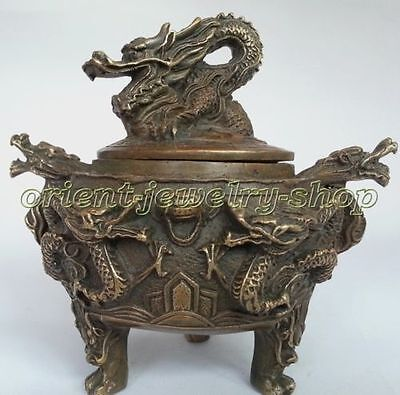 Collectables! Archaic Decorated Old Copper dragon Statue incense burner /Censer
