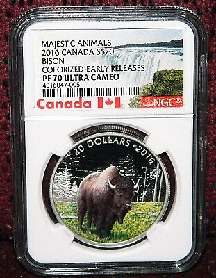 2016 Canada $20 Majestic Animals: Bison Silver Coin - Ngc Pf 70 Ultra Cameo Er