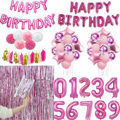 Pink Happy Birthday Banner Bunting Foil Latex Confetti Balloons Set Party Decor