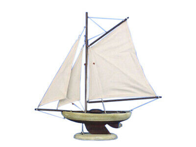 Model Sailboat Wooden Rustic Bermuda Sloop Decoration Nautical Decor Display 17""