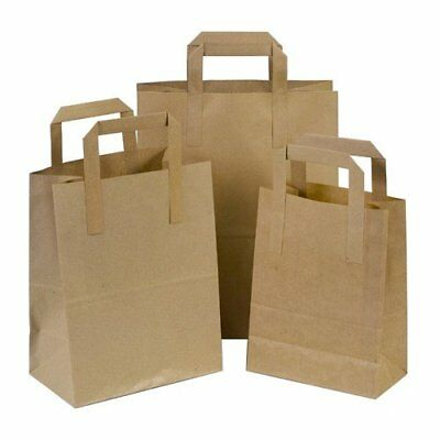 Kraft Paper SOS Carrier Bags - S/M/L - White&Brown Flat Handles Strong Quality