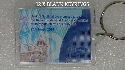 12 X Acrylic Clear Plastic Blank Key Rings Insert Photo Picture 35mm X 50m