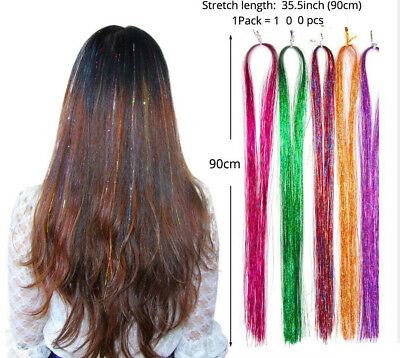 """Lot 100 Strands Sparkle Shiny Tinsel Long Decoration Hair Extensions Dazzles 36"""""""