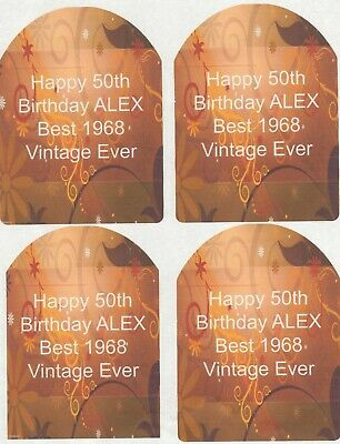 SET OF 6 X PERSONALISED 89 x120.7MM RED AND BROWN FLOURISH WINE BOTTLE LABELS
