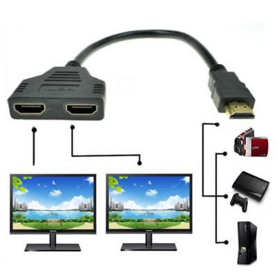 1080P HDMI Port Male to 2 Female 1 In 2 Out Splitter Cable Adapter Converter#f