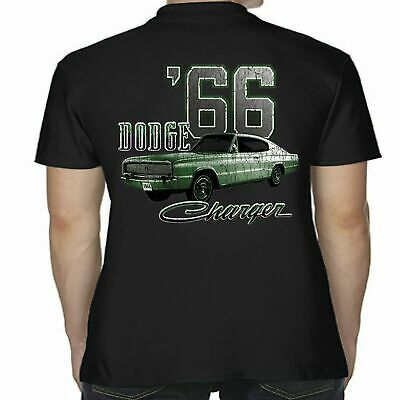 Mens Licensed Dodge Charger 66 Polo Shirt American Classic Mopar V8 Muscle Car
