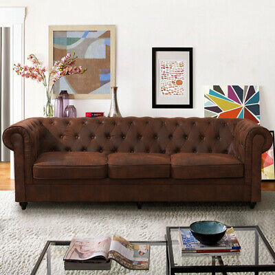 Large 2-3 Seater Luxury Vintage Distressed Leather Sofa Settee Sofas Suite Brown