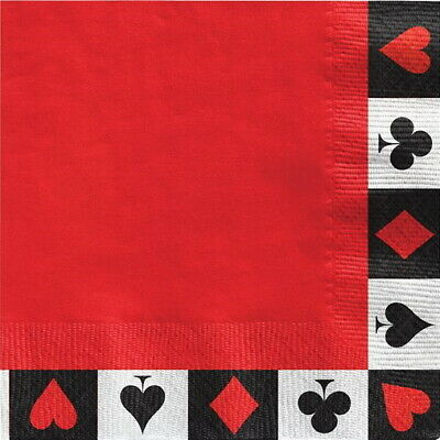 Casino Paper Lunch Napkins Cocktail Party Poker Card Night James Bond Birthday