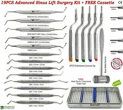Professional Advanced Implant Sinus Lift Surgery Kit Osteotomes Elevators 19 PCS